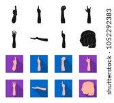 sign language black flet icons... | Shutterstock .eps vector #1052292383