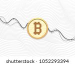 bitcoin sign in circle on... | Shutterstock .eps vector #1052293394