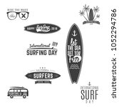 vintage surf emblems for web... | Shutterstock .eps vector #1052294786