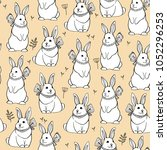 seamless vector pattern with... | Shutterstock .eps vector #1052296253
