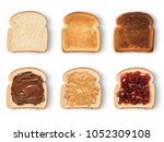 set of slices toast bread with... | Shutterstock . vector #1052309108