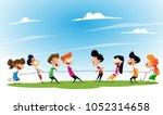 fun cartoon boys and girls... | Shutterstock .eps vector #1052314658