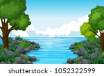 nature scene of river with many ... | Shutterstock .eps vector #1052322599