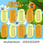 times tables design with bees... | Shutterstock .eps vector #1052322659