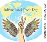 international youth day  iyd is ... | Shutterstock .eps vector #1052327969