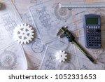workolace desk of engineering... | Shutterstock . vector #1052331653