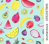 seamless tropical pattern of... | Shutterstock . vector #1052357840
