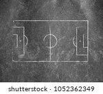 soccer field lines on old paper | Shutterstock . vector #1052362349
