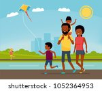 family is having fun in a... | Shutterstock .eps vector #1052364953