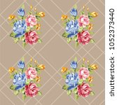 seamless floral pattern with... | Shutterstock .eps vector #1052373440