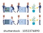 stands at the open safe full of ... | Shutterstock .eps vector #1052376890