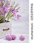 spring holidays easter backdrop.... | Shutterstock . vector #1052395946