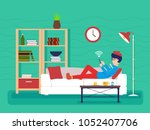 guy sick lies on couch   Shutterstock .eps vector #1052407706
