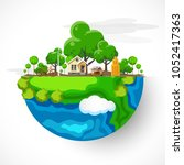 earth day. eco friendly concept.... | Shutterstock .eps vector #1052417363