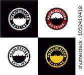 manchester skyline rounded... | Shutterstock .eps vector #1052419418