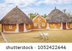 view of rajasthan village near... | Shutterstock . vector #1052422646