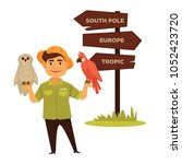 zoo worker with parrot and owl... | Shutterstock .eps vector #1052423720