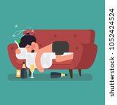 a drunk man sleep on the sofa... | Shutterstock .eps vector #1052424524