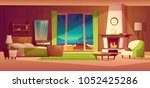 vector night panorama of villa... | Shutterstock .eps vector #1052425286