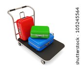 Service Cart with Luggage isolated on white background - stock photo