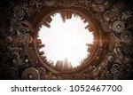 metal gear mechanism. mixed...   Shutterstock . vector #1052467700