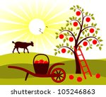 vector apple tree and hand... | Shutterstock .eps vector #105246863
