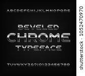 chrome effect alphabet font.... | Shutterstock .eps vector #1052470970
