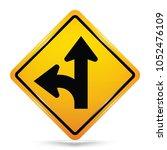 international left turn split...   Shutterstock .eps vector #1052476109