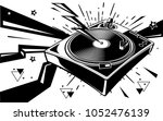 black and white turntable... | Shutterstock .eps vector #1052476139