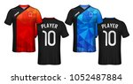 soccer jersey template. red and ... | Shutterstock .eps vector #1052487884