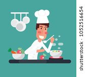 chef cooking the soup in kitchen | Shutterstock .eps vector #1052516654
