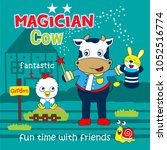 cow the magician funny animal... | Shutterstock .eps vector #1052516774