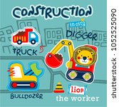 lion driving digger funny... | Shutterstock .eps vector #1052525090