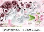 rose flowers on 3d white circle ... | Shutterstock . vector #1052526608