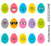 cute easter eggs with different ... | Shutterstock .eps vector #1052531348