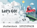 escape from the city  paper art ... | Shutterstock .eps vector #1052539628