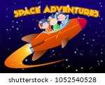 children in spacesuits ride the ... | Shutterstock .eps vector #1052540528
