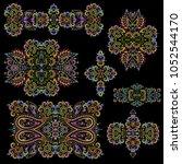 bright bohemian ethnic cliche... | Shutterstock .eps vector #1052544170