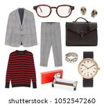 collage of clothes on the white ... | Shutterstock . vector #1052547260