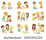kids creativity set  childrens... | Shutterstock .eps vector #1052551214