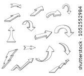 black arrows. cartoon doodles.... | Shutterstock .eps vector #1052552984