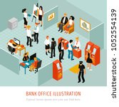 bank office interior isomeric... | Shutterstock .eps vector #1052554139