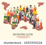 multinational culture isometric ... | Shutterstock .eps vector #1052554226