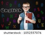 learning english. positive... | Shutterstock . vector #1052557076