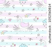 cute background with cartoon... | Shutterstock .eps vector #1052560814