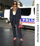 Small photo of PARIS, France- March 05 2018: Elisa Taviti on the street during the Paris Fashion Week