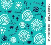 pattern design with tribal... | Shutterstock .eps vector #1052580590
