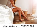 relaxed caucasian girl is... | Shutterstock . vector #1052582789