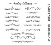 flourishes. hand drawn dividers ... | Shutterstock . vector #1052588939
