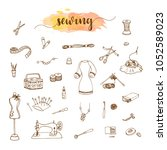 sewing accessory collection ... | Shutterstock . vector #1052589023